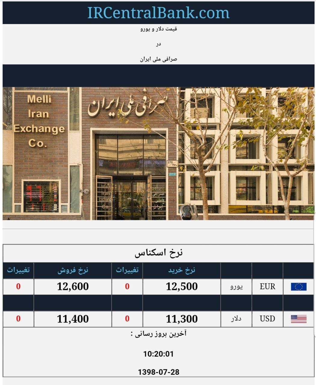 قیمت دلار و یورو در صرافی ملی امروز 28 مهر 98