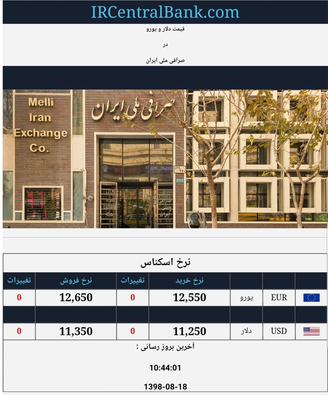 قیمت دلار و یورو در صرافی ملی امروز ۱۸ آبان ۹۸