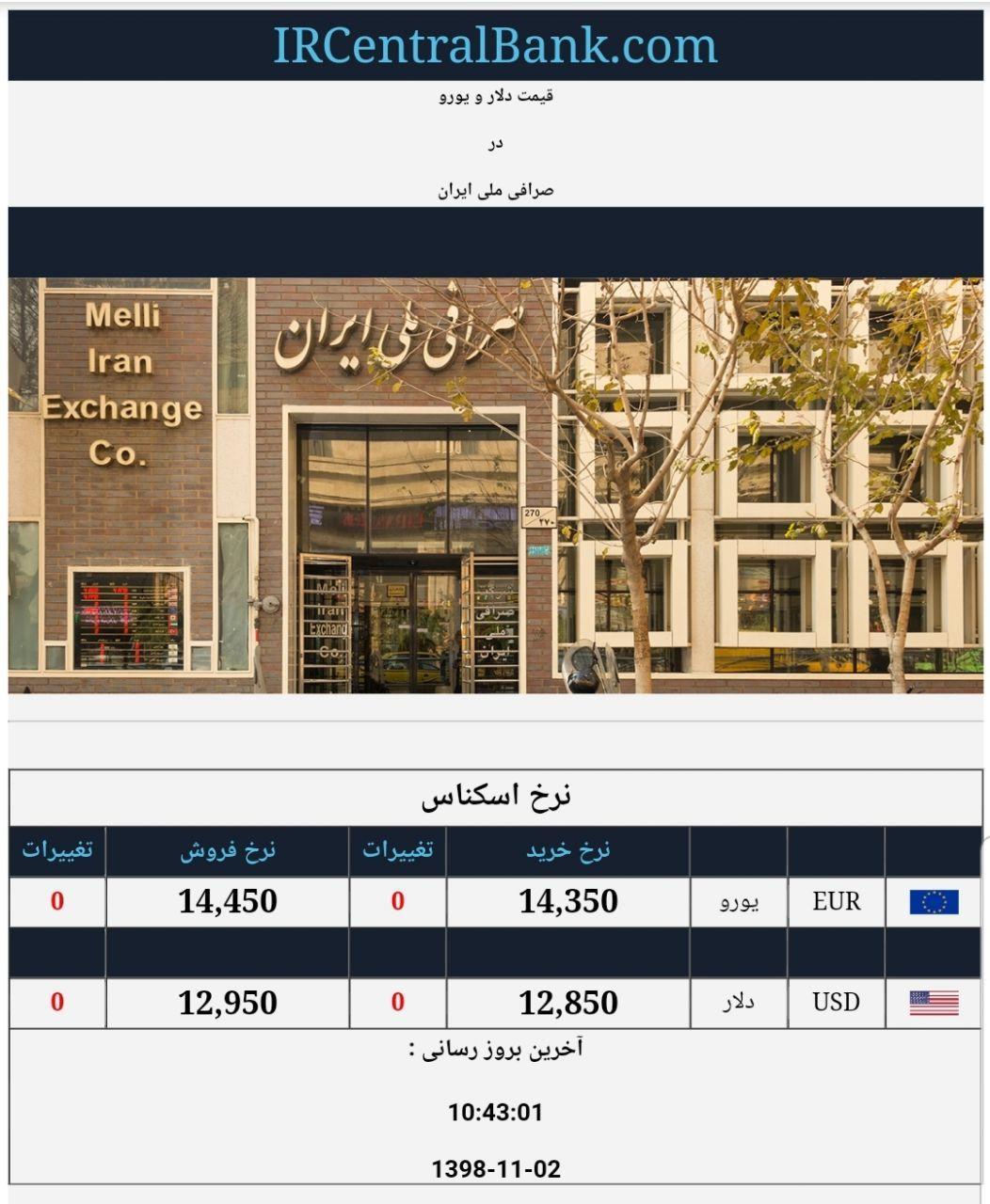 قیمت دلار و یورو در صرافی ملی امروز دوم بهمن