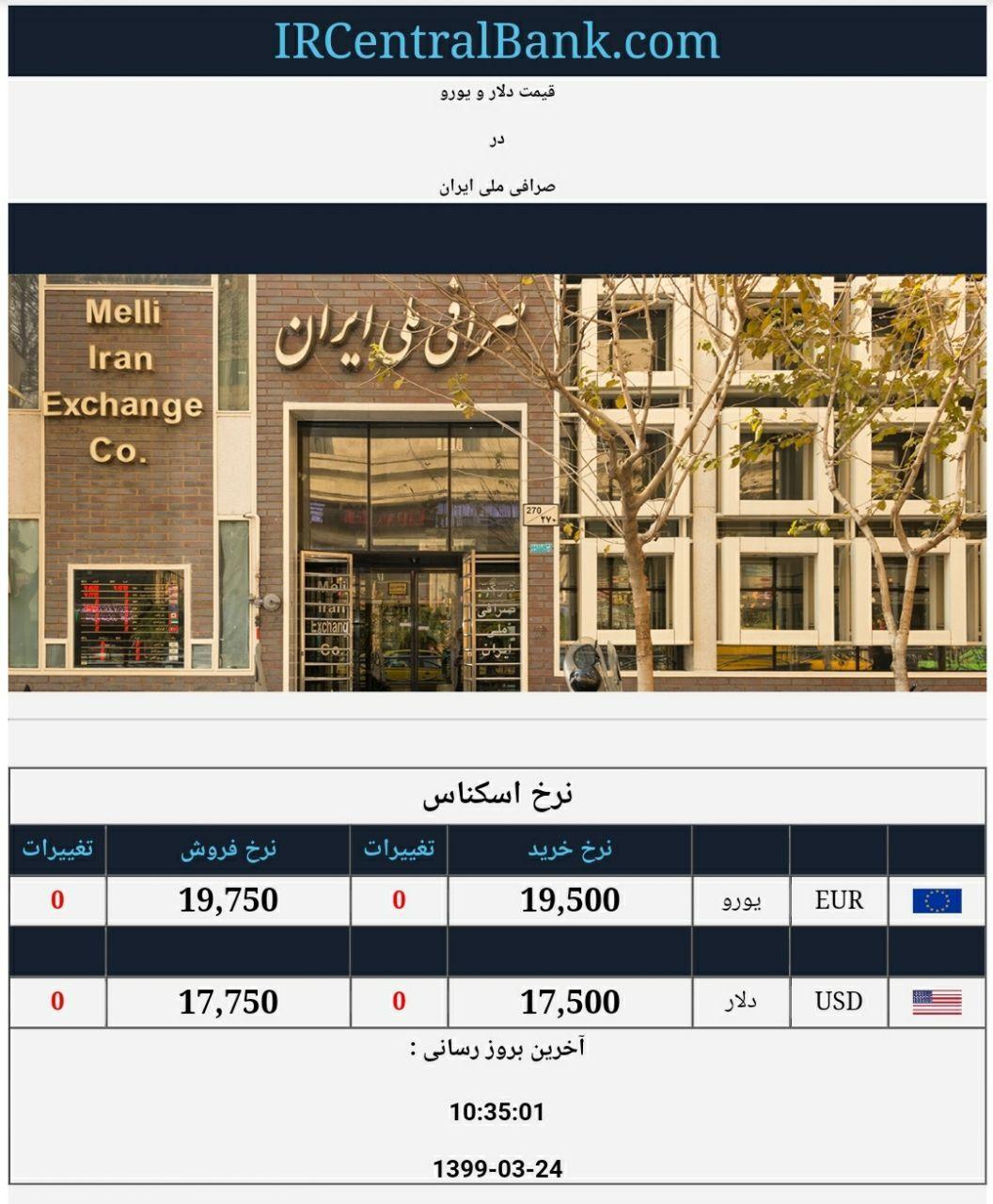 قیمت دلار و یورو در صرافی ملی امروز 24 خرداد 99
