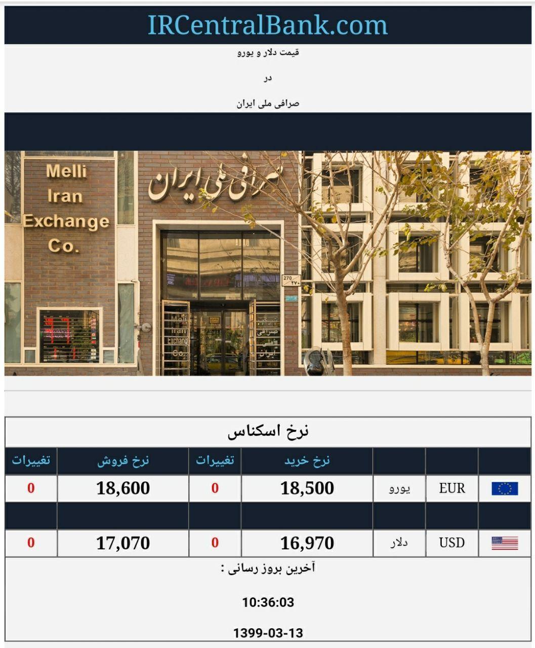 قیمت دلار و یورو در صرافی ملی امروز 13 خرداد 99