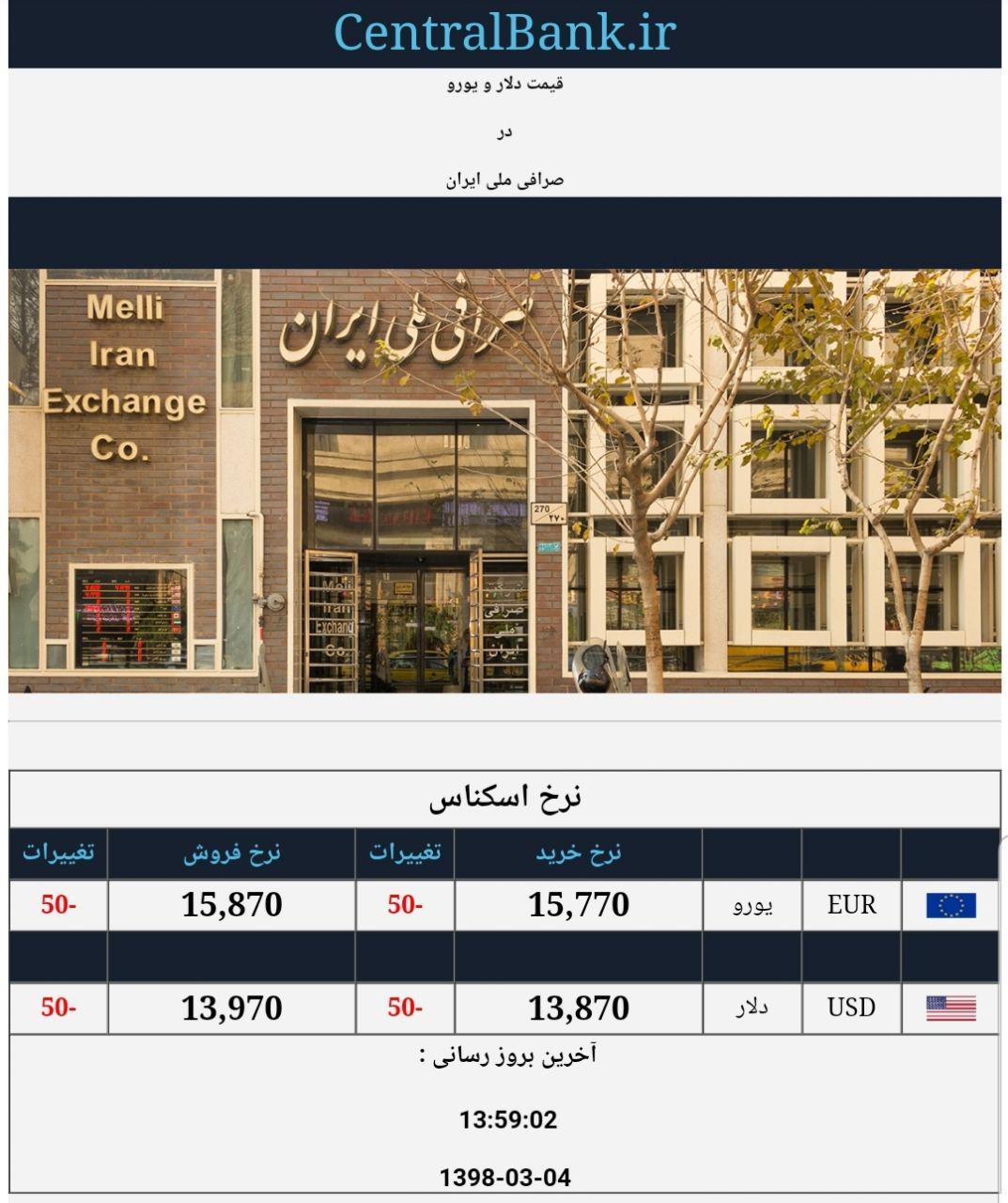قیمت دلار ویورو صرافی ملی چهارم خرداد
