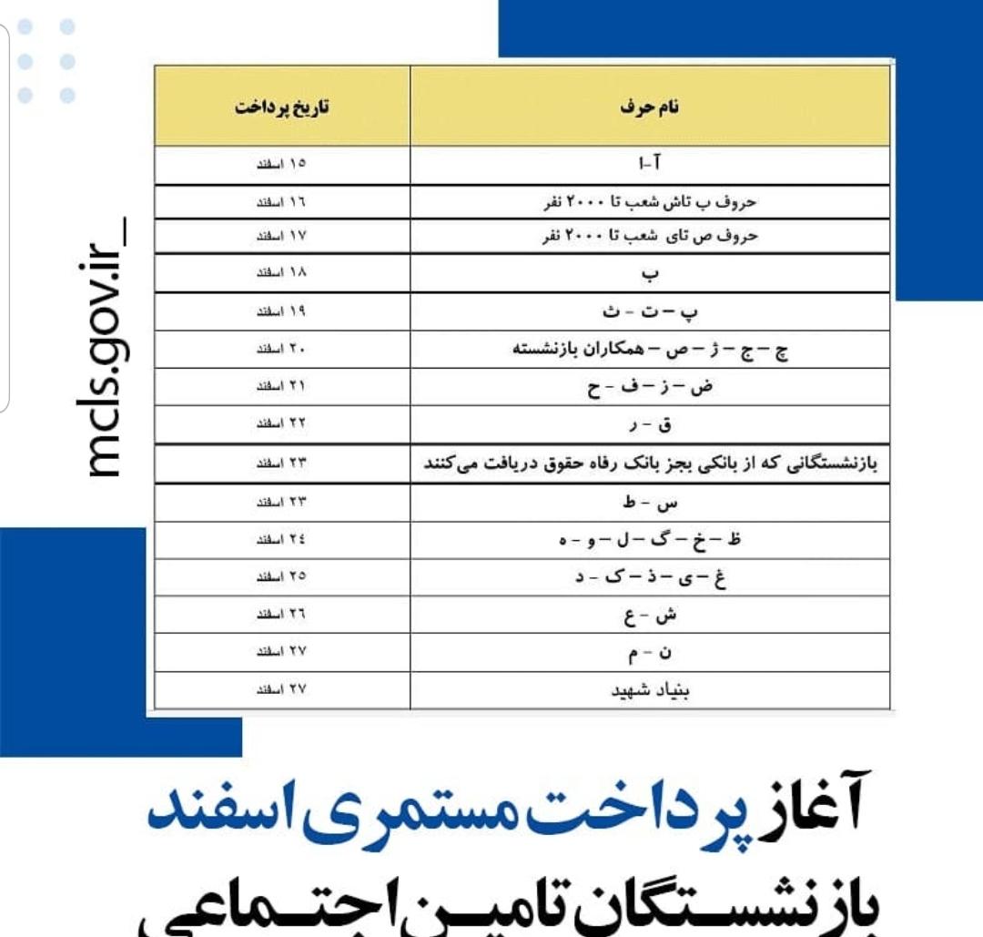جدول+مستمری+اسفند