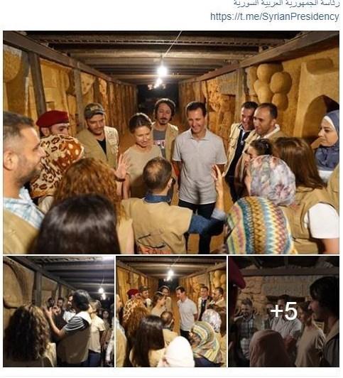 حضور بشار اسد و همسرش در یکی از تونلهای مرگ «جوبر» + تصاویر