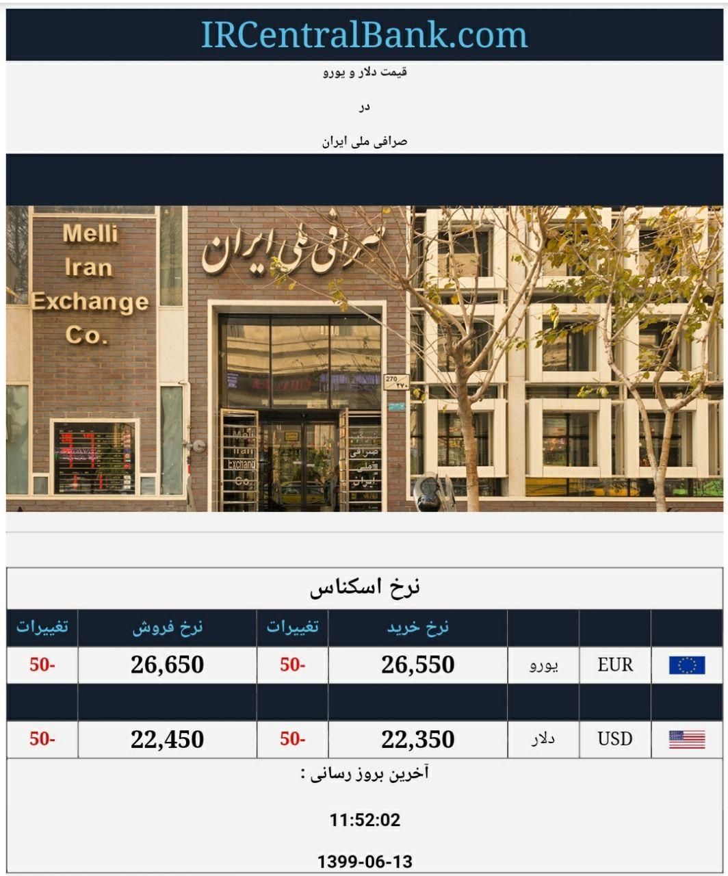 قیمت دلار و یورو در صرافی ملی امروز 13 شهریور 99