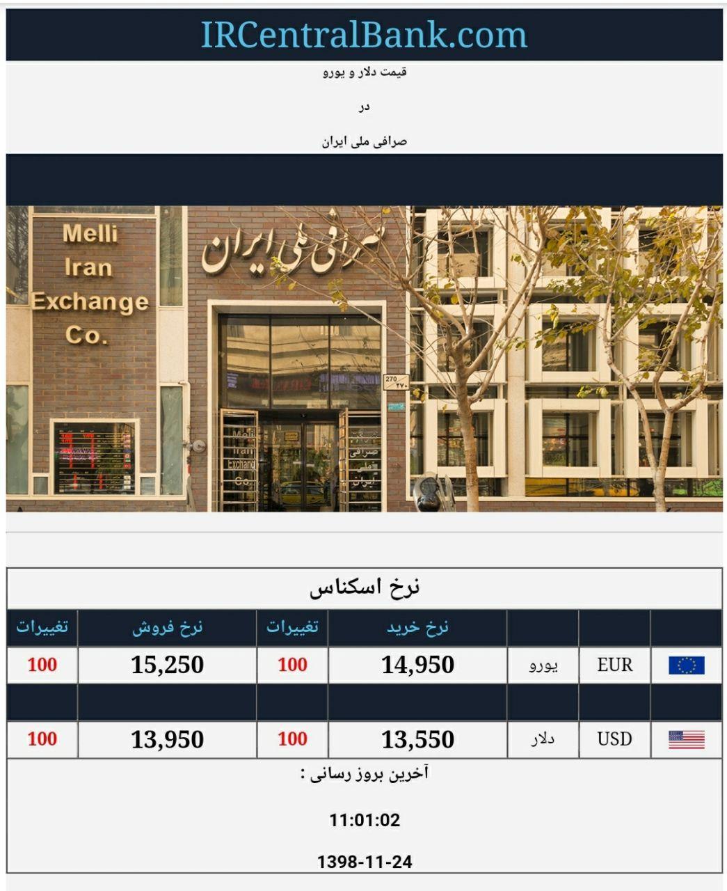 قیمت دلار و یورو در صرافی ملی امروز 24 بهمن 98