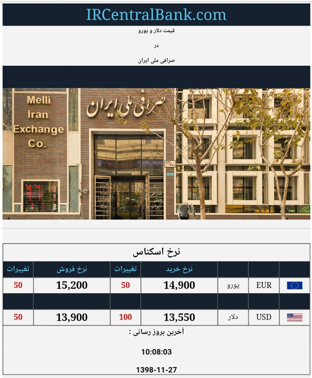 قیمت دلار و یورو در صرافی ملی امروز 27 بهمن 98