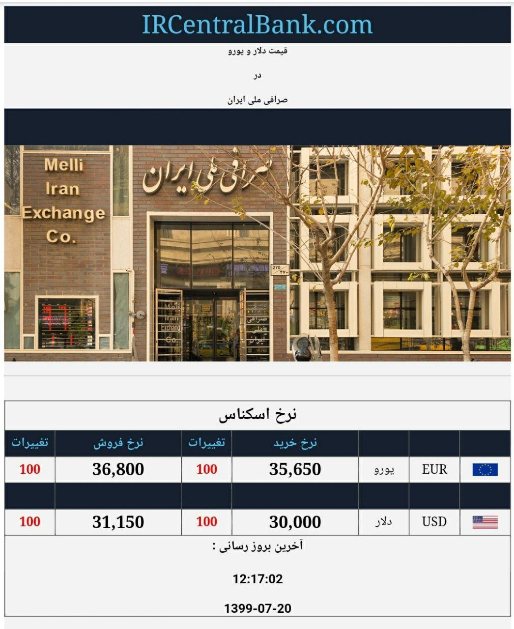 قیمت دلار و یورو در صرافی ملی امروز 20 مهر 99