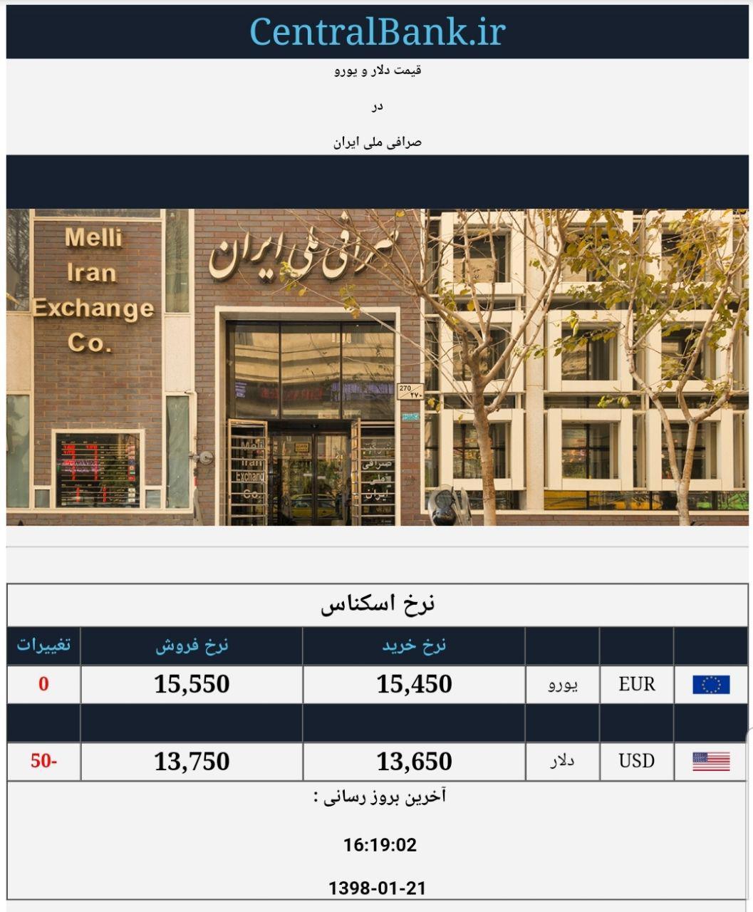 قیمت دلار در صرافی ملی امروز ۱۳۹۸/۰۱/۲۱