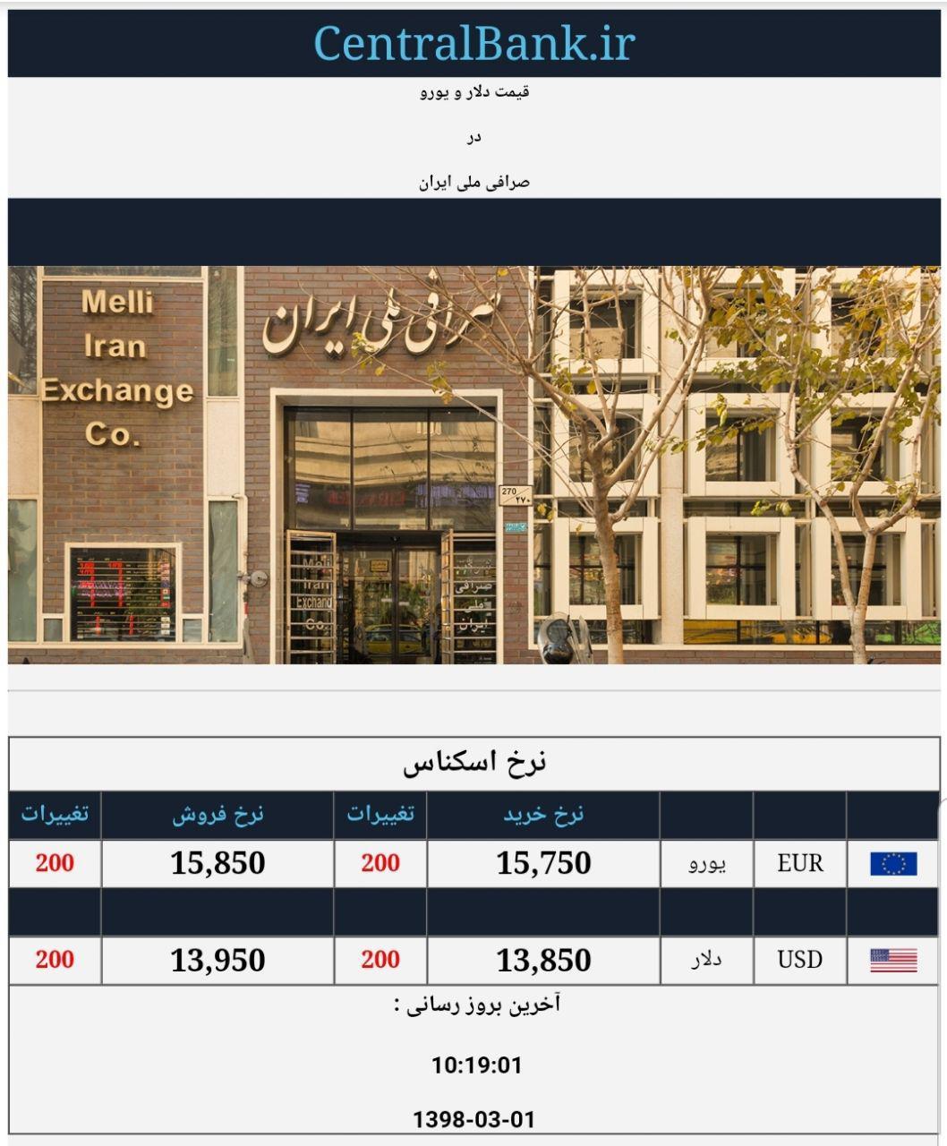 قیمت دلار و یورو صرافی ملی اول خرداد