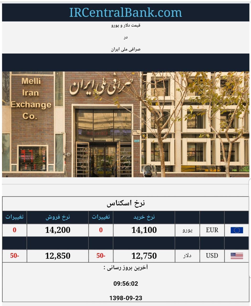 قیمت دلار و یورو در صرافی ملی امروز 23 آذر 98