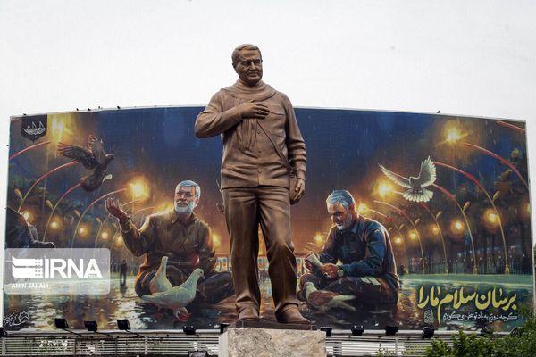 تندیس سردار سلیمانی در تهران رونمایی شد+ عکس