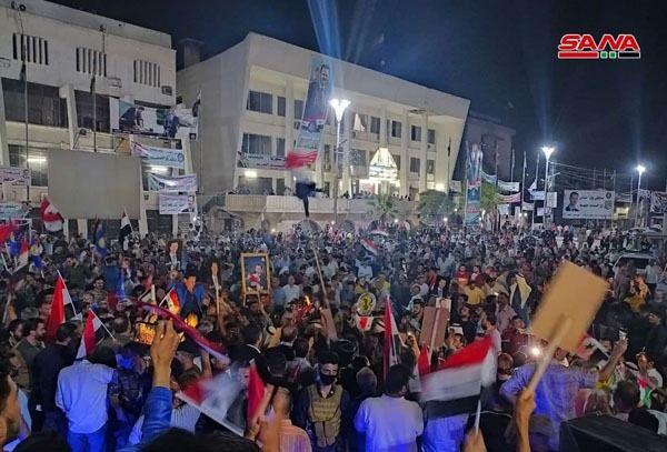 تصاویری از جشن و شادی مردم سوریه بعد از پیروزی بشار اسد در انتخابات