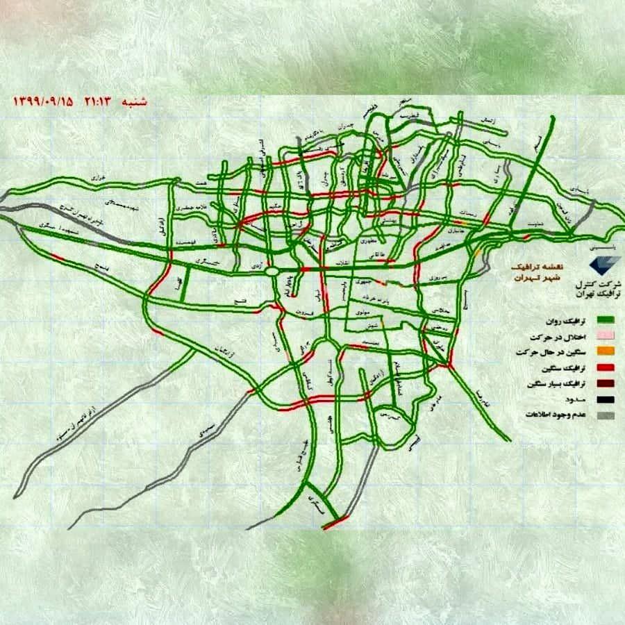 ترافیک تهران در اولین شب نارنجی شدن پایتخت