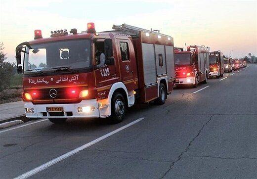 آتش گرفتن کپسولهای C.N.G در جاده مخصوص کرج