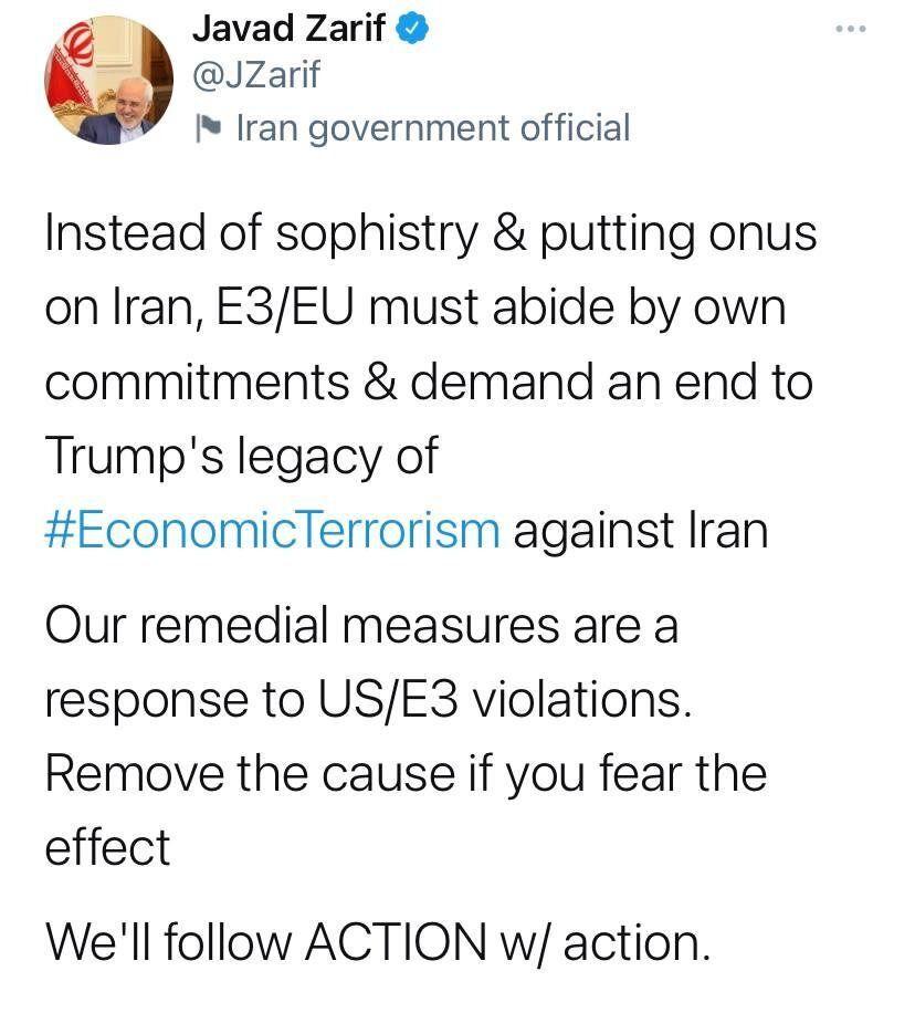 ظریف: اقدام را با اقدام پاسخ میدهیم