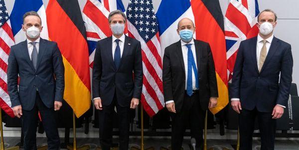 گفتگوی وزرای خارجه آمریکا و تروئیکای اروپایی درباره ایران