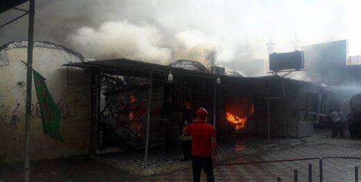حریق گسترده در بازار ساحلی بندر دیلم بوشهر