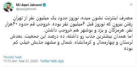 آمار خروج مسافران از تهران بر اساس مصرف اینترنت