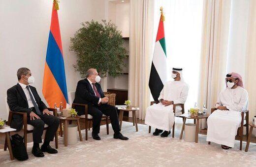 دیدار رئیس جمهور ارمنستان با محمد بن زاید
