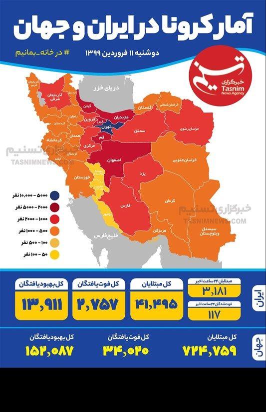اینفوگرافیک/ آمار کرونا در ایران و جهان / دوشنبه 11 فروردین 1399