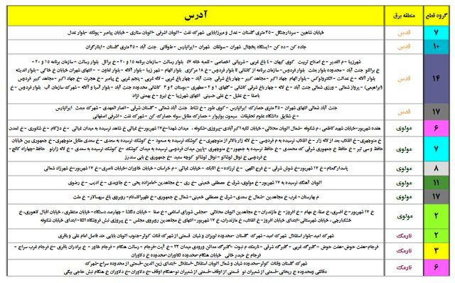 جدول جدید خاموشیهای احتمالی پایتخت منتشر شد