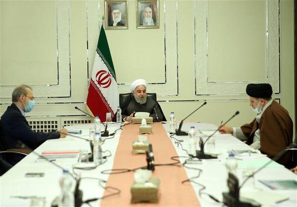 عکس|جلسه روحانی، لاریجانی و رئیسی درباره کرونا