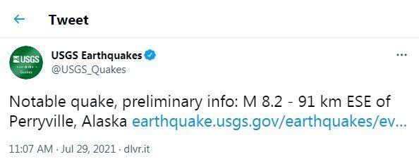 زلزله ۸.۲ ریشتری «آلاسکا» را به لرزه درآورد/ هشدار سونامی صادر شد