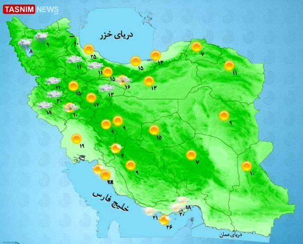 پیشبینی بارش باران و وزش باد در بیشتر مناطق کشور