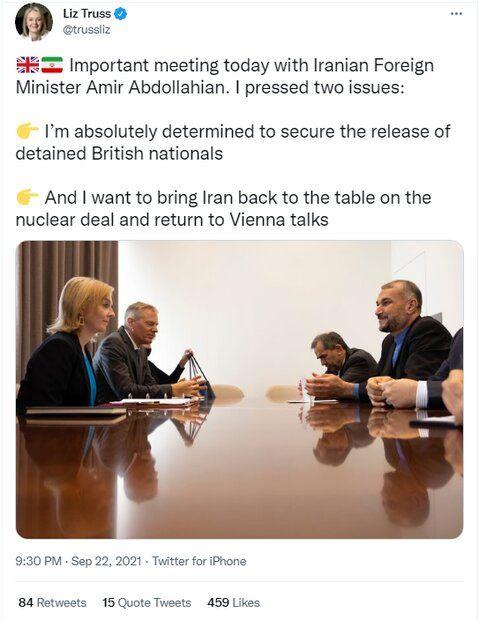 وزیرخارجه انگلیس:خواهان بازگشت ایران به مذاکرات احیای برجام هستیم