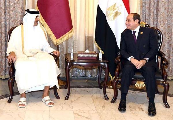 دیدار امیر قطر و رئیس جمهور مصر بعد از ۴ سال
