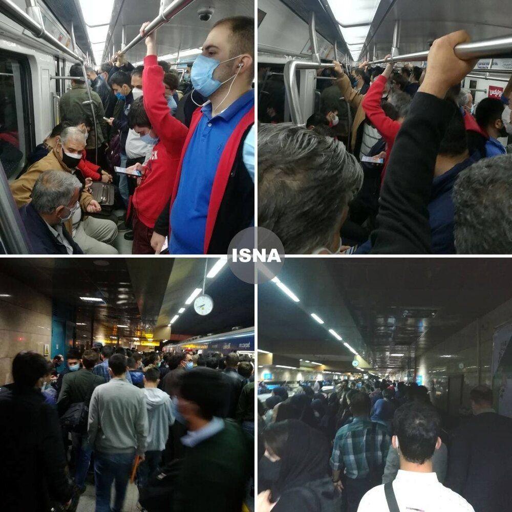 عکس | وضعیت اسفبار متروی تهران در دومین روز قرمز پایتخت