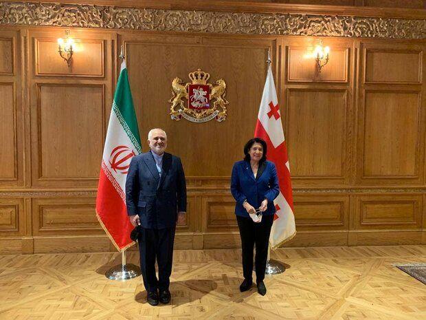 ظریف با رئیسجمهور گرجستان دیدار کرد