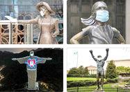 چهره مجسمههای معروف جهان زیر ماسک