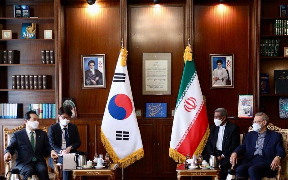 عکسی از دیدار نخست وزیر کره جنوبی با علی لاریجانی