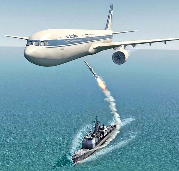حمله ناو آمریکایی به هواپیمای مسافربری ایران