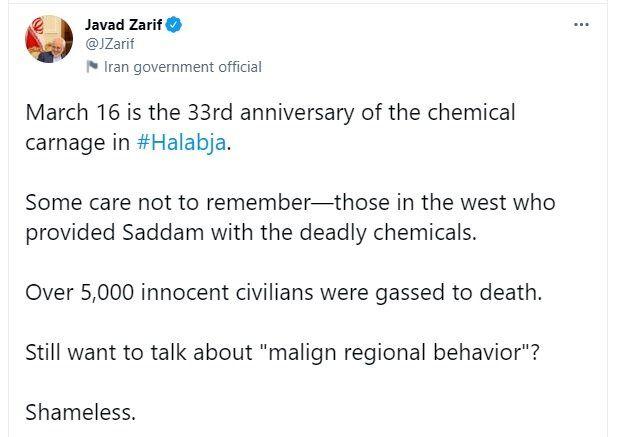 توییت کنایهآمیز ظریف به غربیها در سالگرد فاجعه حلبچه