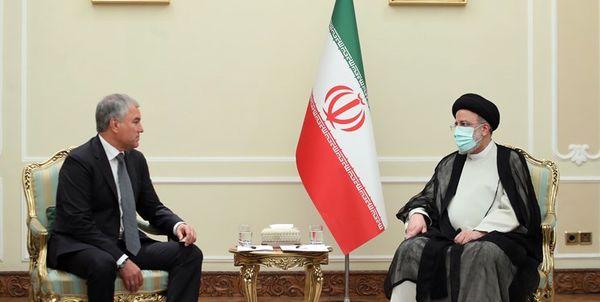 دیدار رئیس دومای روسیه با ابراهیم رئیسی