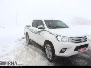 بارش نخستین برف پاییزی در جاده خلخال - اسالم