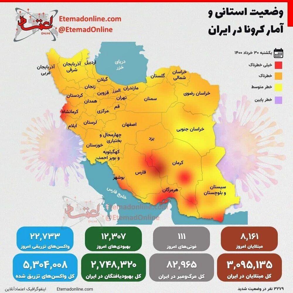 وضعیت شهرهای قرمز و آمار کرونا در ۳۰ خرداد ۱۴۰۰/ اینفوگرافیک
