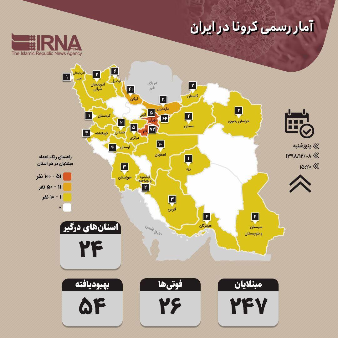 آمار کرونا ایران ساعت ۳