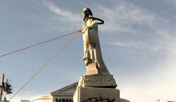 مجسمه کریستوف کلمب پایین کشیده شد