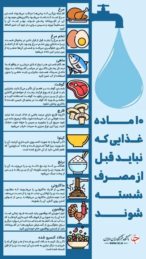 اینفوگرافیک   ۱۰ ماده غذایی که نباید قبل از مصرف شسته شوند