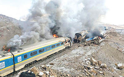 برخورد دو قطار در سمنان حادثه آفرید