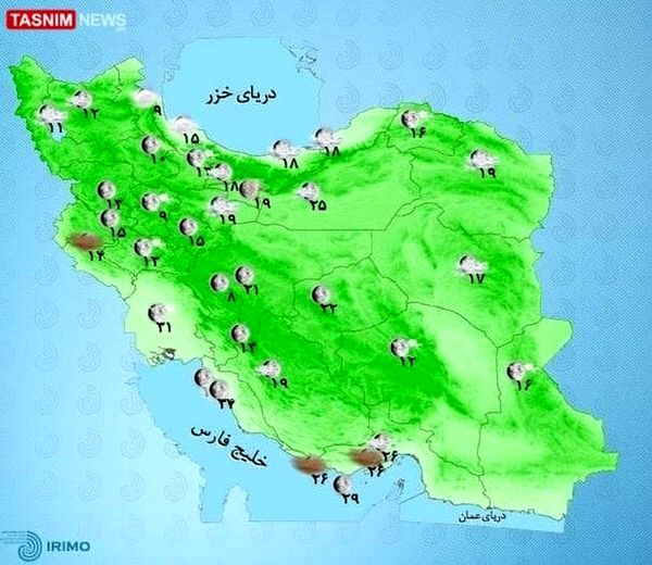 رگبار و رعد و برق در بیشتر استانهای کشور