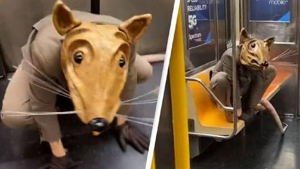 ماسک عجیب یک مسافر در مترو سوژه رسانه ها شد