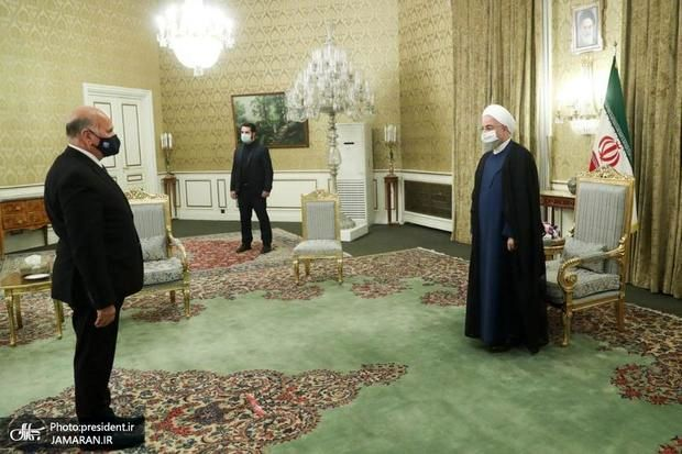 عکسی از دیدار وزیر خارجه عراق با روحانی با فاصله اجتماعی