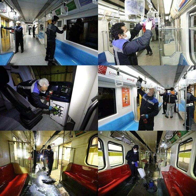 شستشو و ضدعفونی کردن واگن های مترو پایتخت برای مقابله با کرونا ویروس