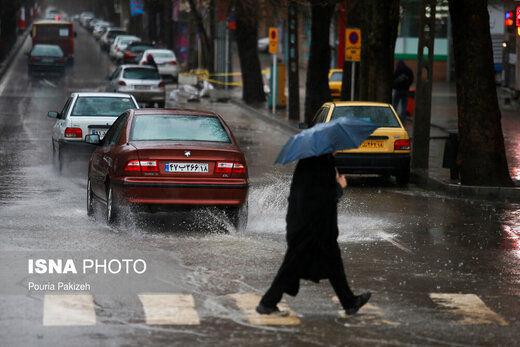 بارش باران و وزش باد شدید در تهران