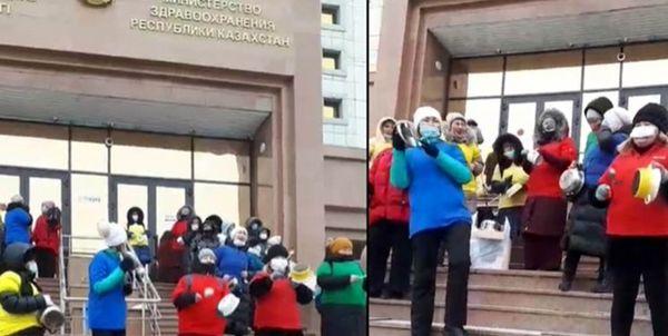 تجمع گروهی از زنان قزاق علیه واکسیناسیون کرونا
